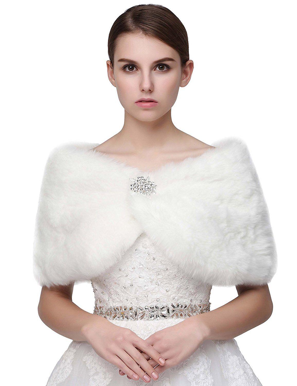 Winter wonderland wedding dress  Belle House Faux Fur Shawl Wrap Stole Cape for Women H  Winter