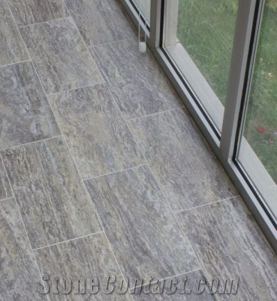 Grey Travertine Floor Tiles Silver Vein Cut