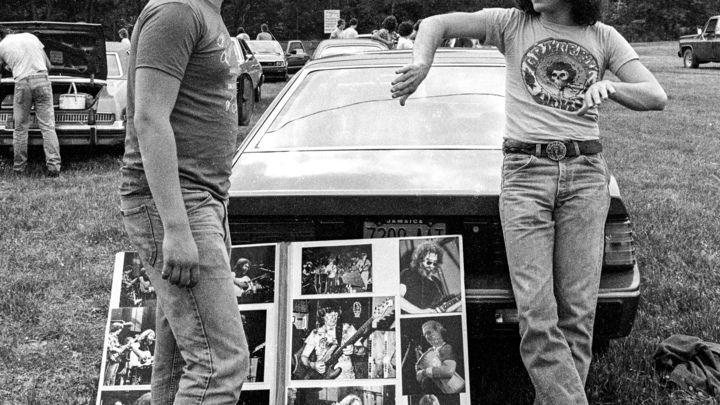Bob Minkin selling his wares at Music Mountain, South Fallsburg, New York on June 16th, 1982.