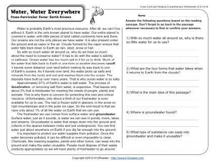 Water Water Everywhere - Reading Worksheets Spelling Grammar Comprehension Lesson Plans