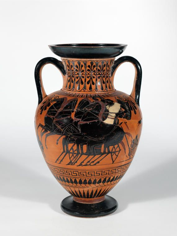 e: Black-figured amphora with a wheeling chariot  Maker(s) & Production: , Athens  Production Note: black-figured  Category: vessel  Name: neck-amphora  Date: 520 B.C. — 510 B.C.  Period: archaic  Description: neck-amphora, warrior's departure, chariot  Find Spot: Vulci Etruria Italy  Material: clay  Dimension(s): height, 0.415, m width, 0.266, m