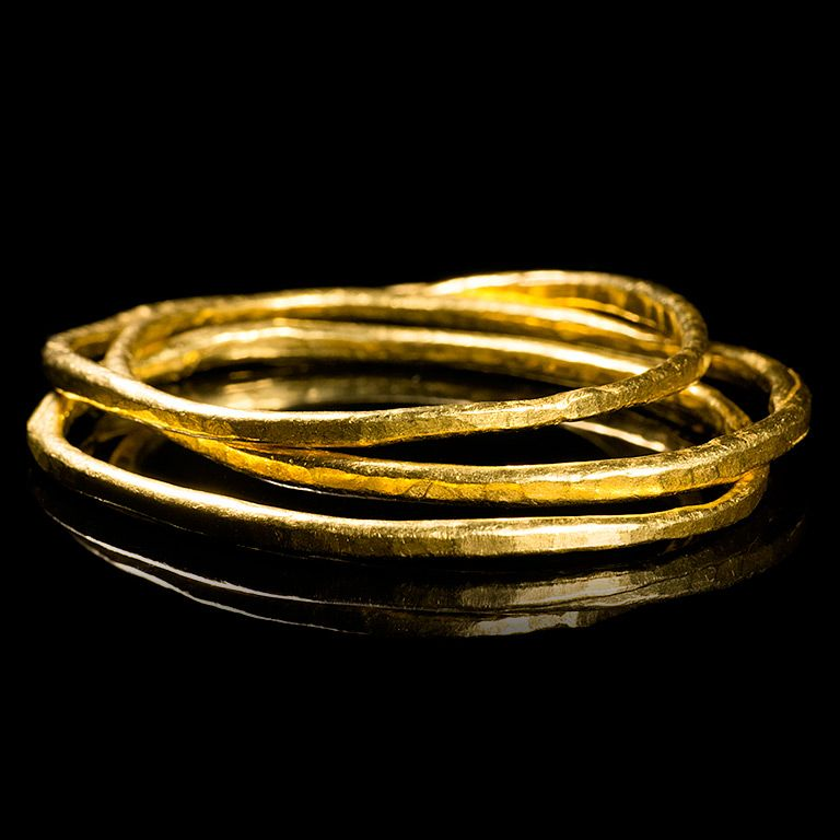 Geoffrey Young Solid 24k Gold Bangle Bracelets This bangle