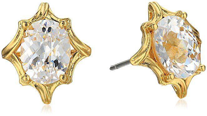 Nicole Miller Oval Checkerboard Cut Gold/ Clear Stud Earrings