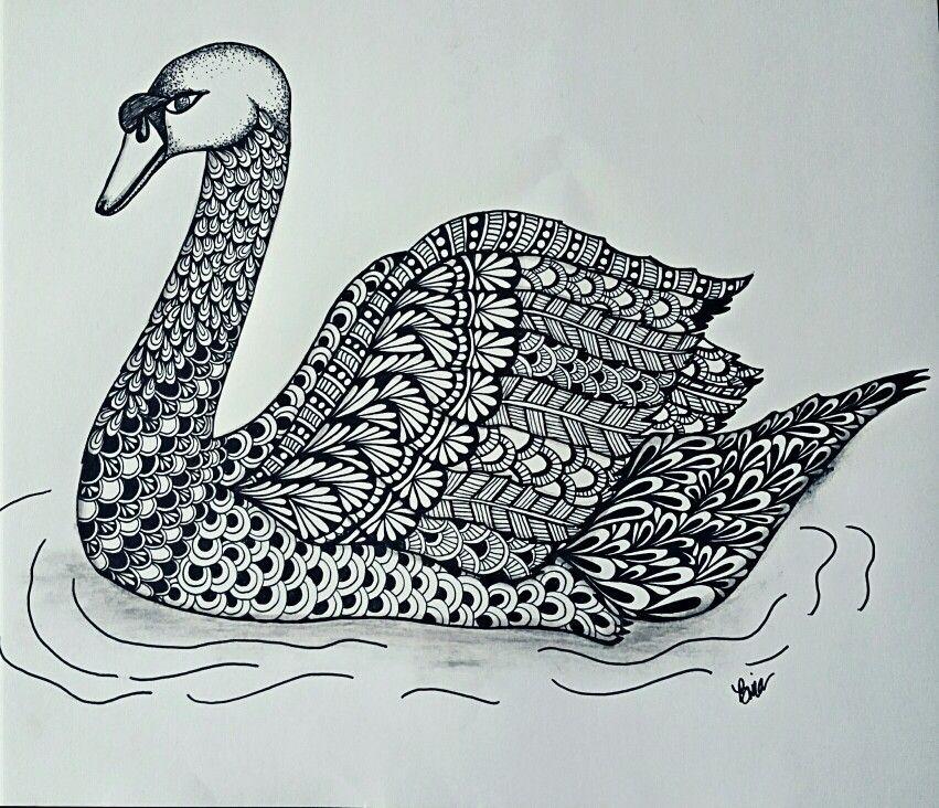 Blacktangle Swan #zentangle #lovezen #binazen #swan