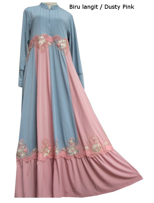Baju Gamis Resleting Kombinasi Warna Renda Ulir Ulr4121 Supplier