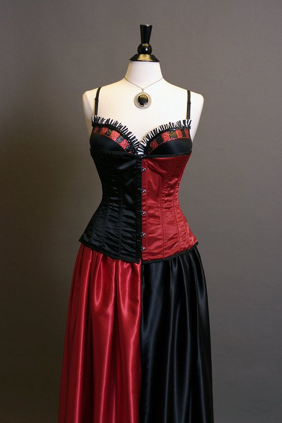 Harley Quinn Inspired Corset Ball Gown Cosplay Costume Dress In Red And Black Size M