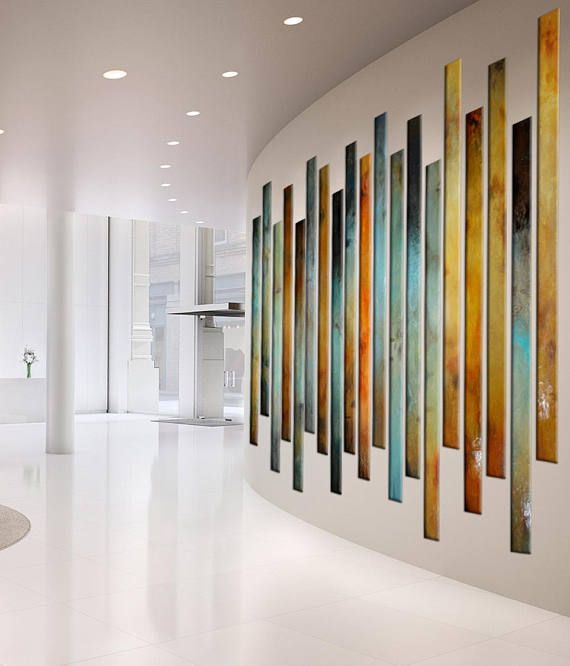 Four Ways To Better Interior Design Installations: Large Painting Multiple Panels Lobby Office Corporate Art