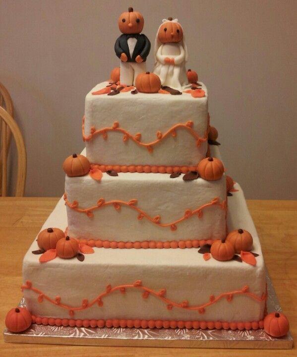 Fall pumpkin leaves orange & brown wedding cake .