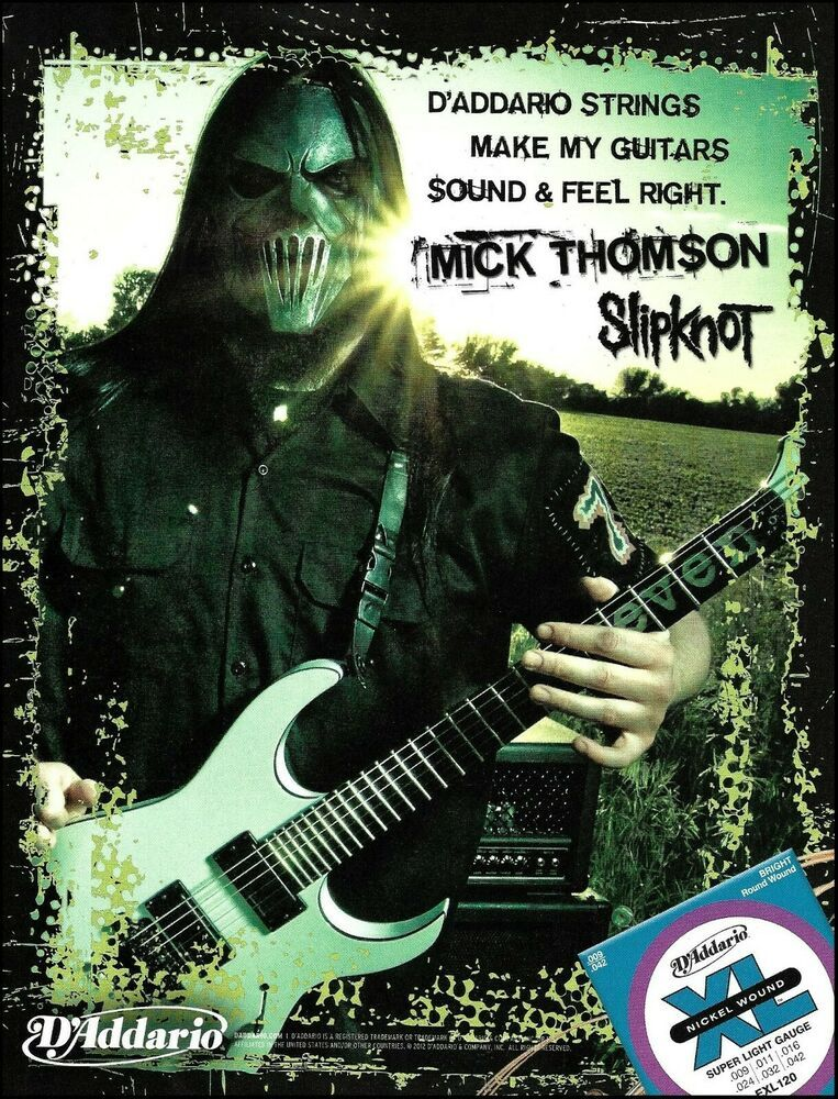 Slipknot Mick Thomson D Addario Xl Guitar Strings Advertisement 2012 Ad Print Daddario In 2020 Mick Thomson Guitar Strings Guitar