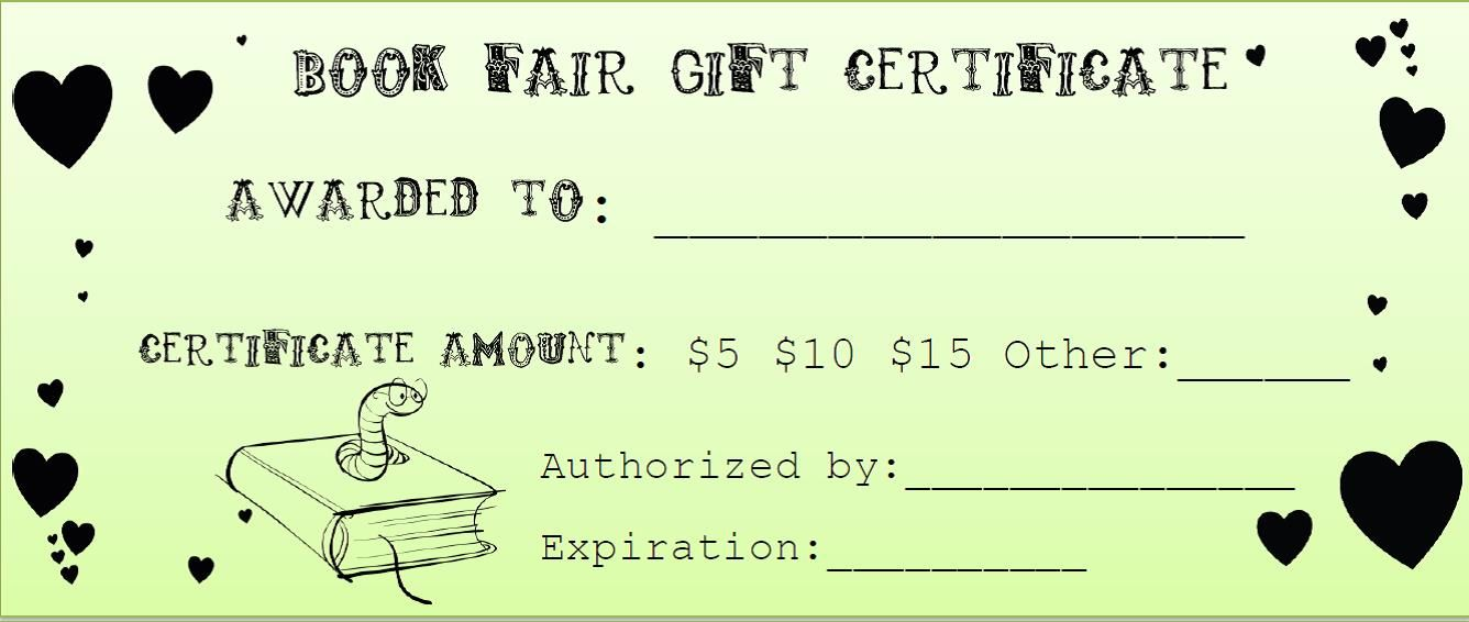 Book Fair Gift Certificate Media Center Pinterest Book fairs - best of donation certificate template