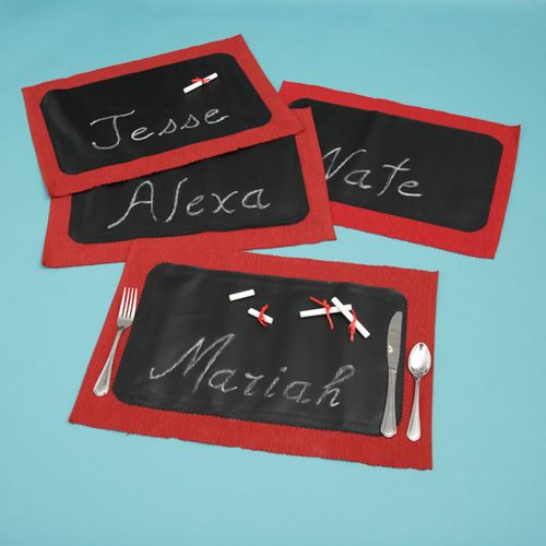 Use Chalkboard Fabric To Make Placemats Great For Those Who Like To Doodle While Waiting To Eat Chalkboard Fabric Chalkboard Placemats Monthly Crafts