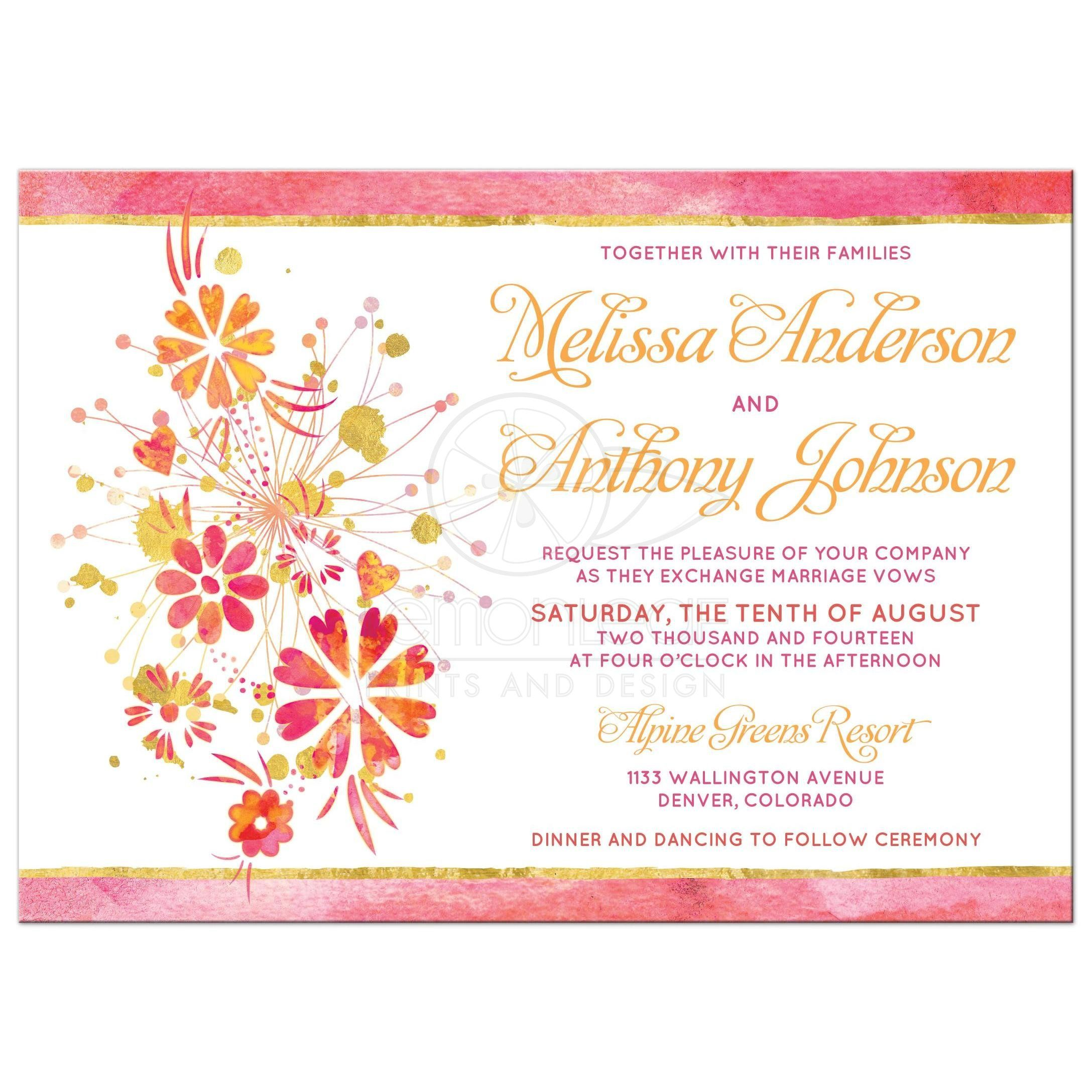 Wedding Invitation | Watercolor Floral Pink Orange Gold | Products