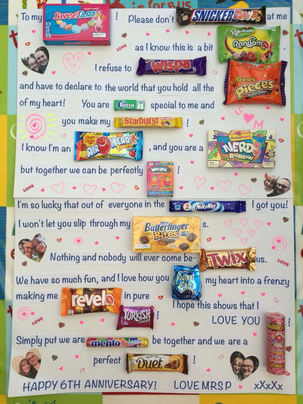 6th wedding anniversary gift Candy poster board for our 6 year wedding anniversary