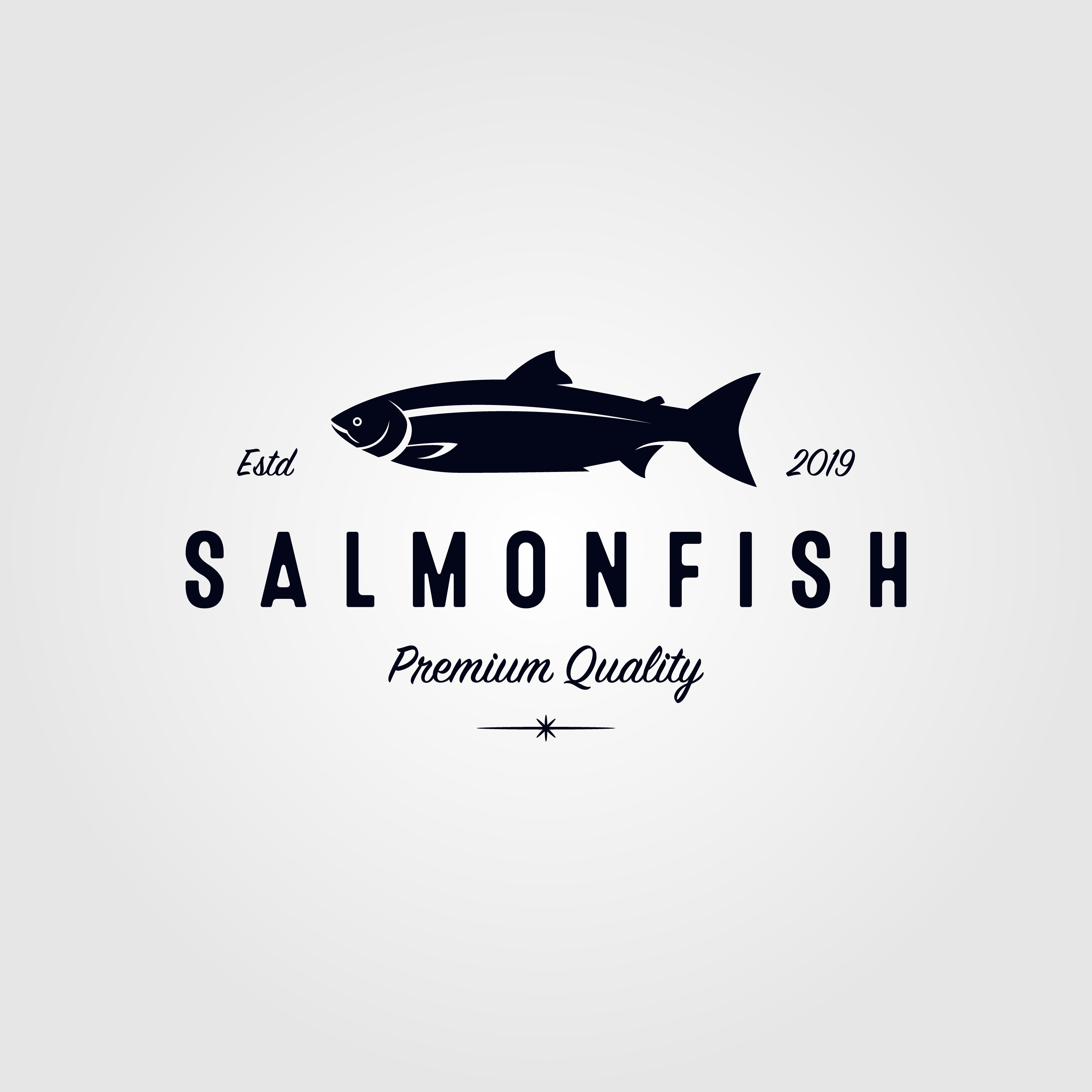Vintage Salmon Fish Logo Seafood Label Badge Vector Design Illustration King Sockeye Chum Silver Steelhead Trout Anc Fish Logo Logo Fish Logo