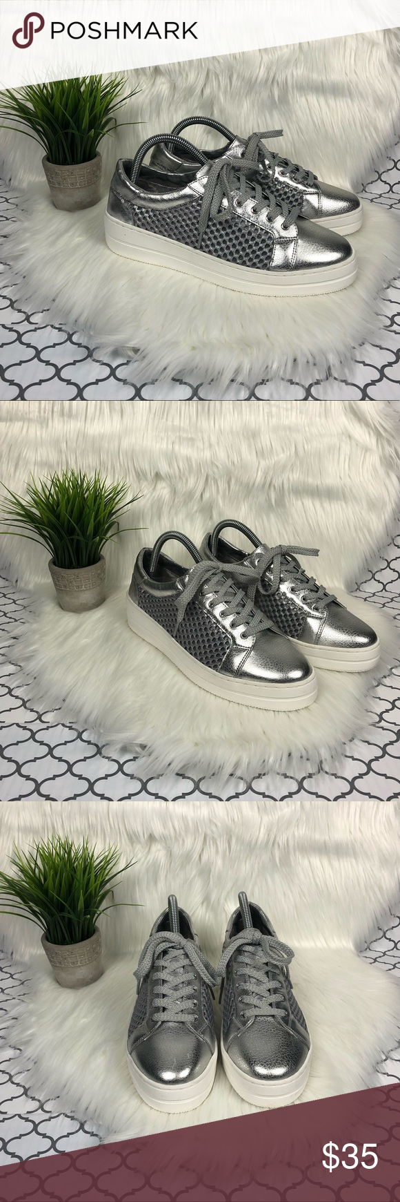 1a66e5aabf6 Steve Madden Silver Neon Sneakers Steven by Steve Madden silver ...