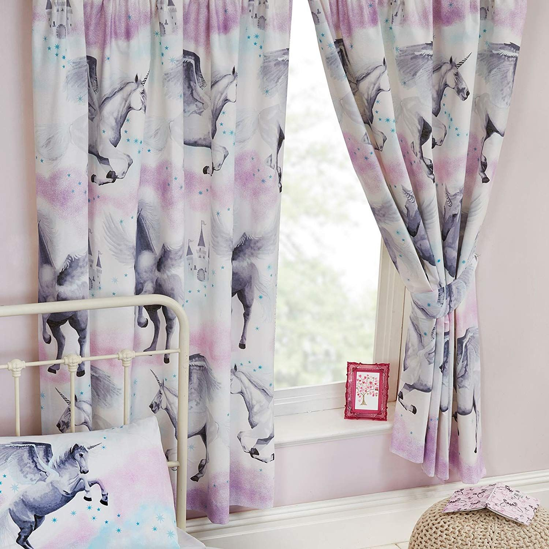 Stardust Unicorn Lined Vorhange Lila Und Teal Vorhange Sind