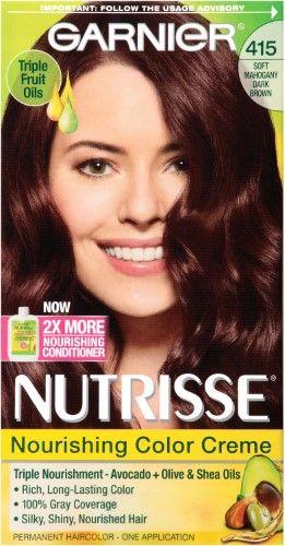 Garnier Nutrisse Classic Hair Color Soft Mahogany Dark Brown 415 Hair Color Nourishing Hair Garnier Hair Color