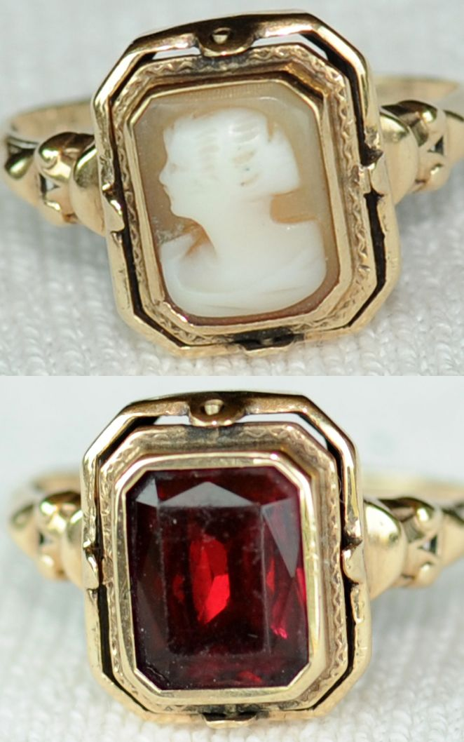 antique victorian garnet and cameo flip ring 10k gold