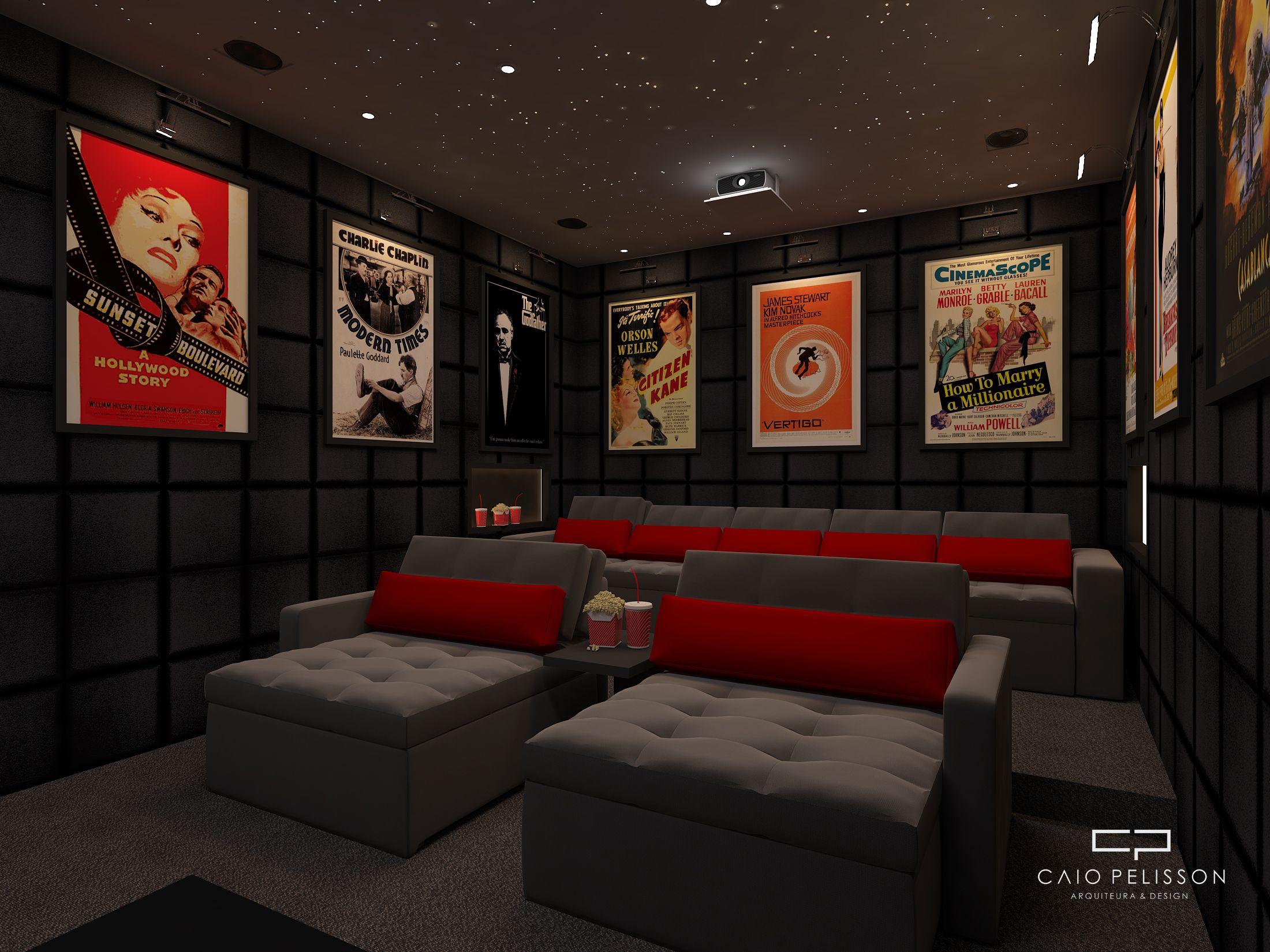 Projeto De Design De Interiores De Sala De Cinema Home Theater Em  -> Imagem De Sala De Cinema