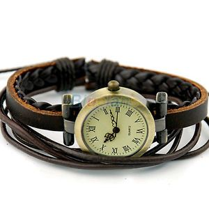 Retro-Womens-Ladies-Weave-Bangle-Band-Leather-Bracelet-Quartz-Wrist-Watch-B32U