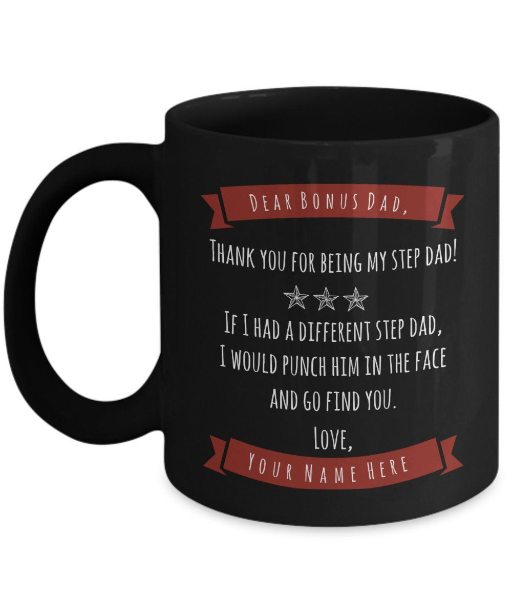 Personalized bonus dad mug custom step dad gift from son