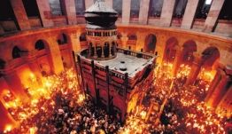 Worshipers thronging the Church of the Holy Sepulchre during the Christian Orthodox Holy Fire ceremony in Jerusalem last year.