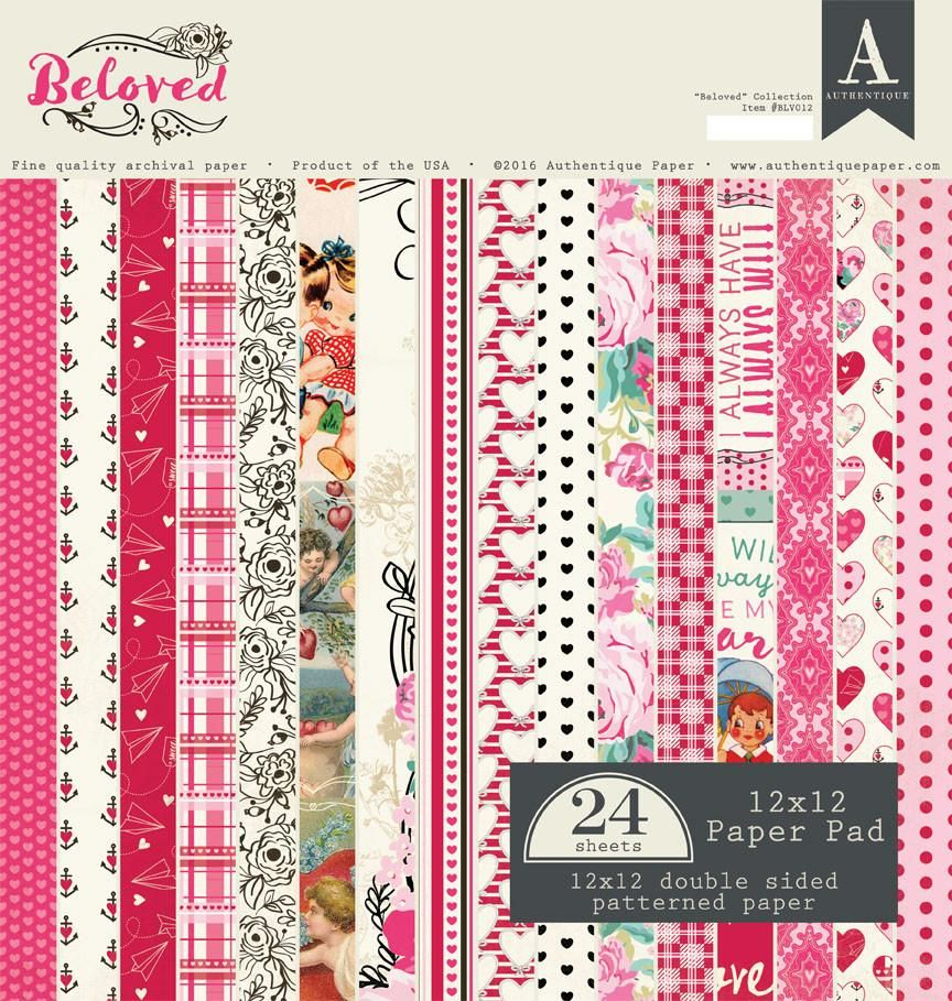 Authentique - Beloved 12x12 Paper Pad, 24 sheets, Valentines, Love