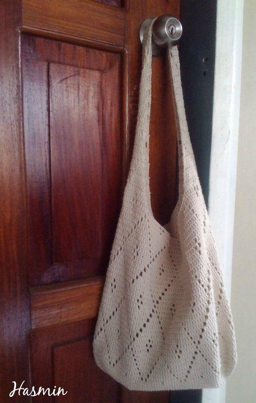 2015 Hobomarket Bag With Diamond Crochet Pattern Using 6 Ply