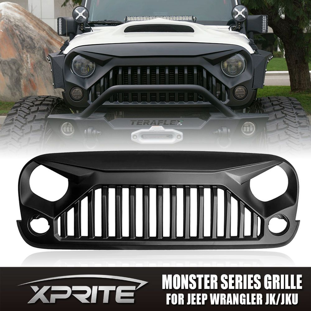 Xprite Front Matte Black Angry Monster Fury Bird Grille 07 17 Jeep