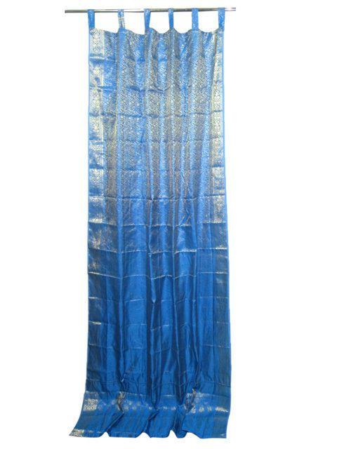 Brocade Home Decor mogul india sari curtains  morrocan home decor blue golden