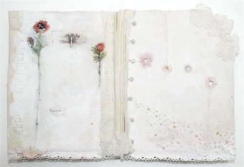 lapappadolce:        'Papaver'- hand printed and embroidered fabric book adorned with antique lace and beads. Dimensions(cm): 70 (l) x 40 (w) 5 Materials: Leather, Antique Lace and Ribbon          (via Davies, Angela — Brighton Craft Fair)