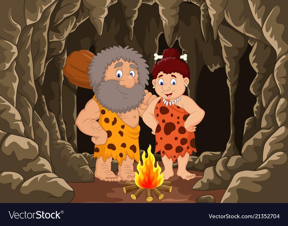 Cartoon prehistoric caveman couple with cave backg vector image on VectorStock
