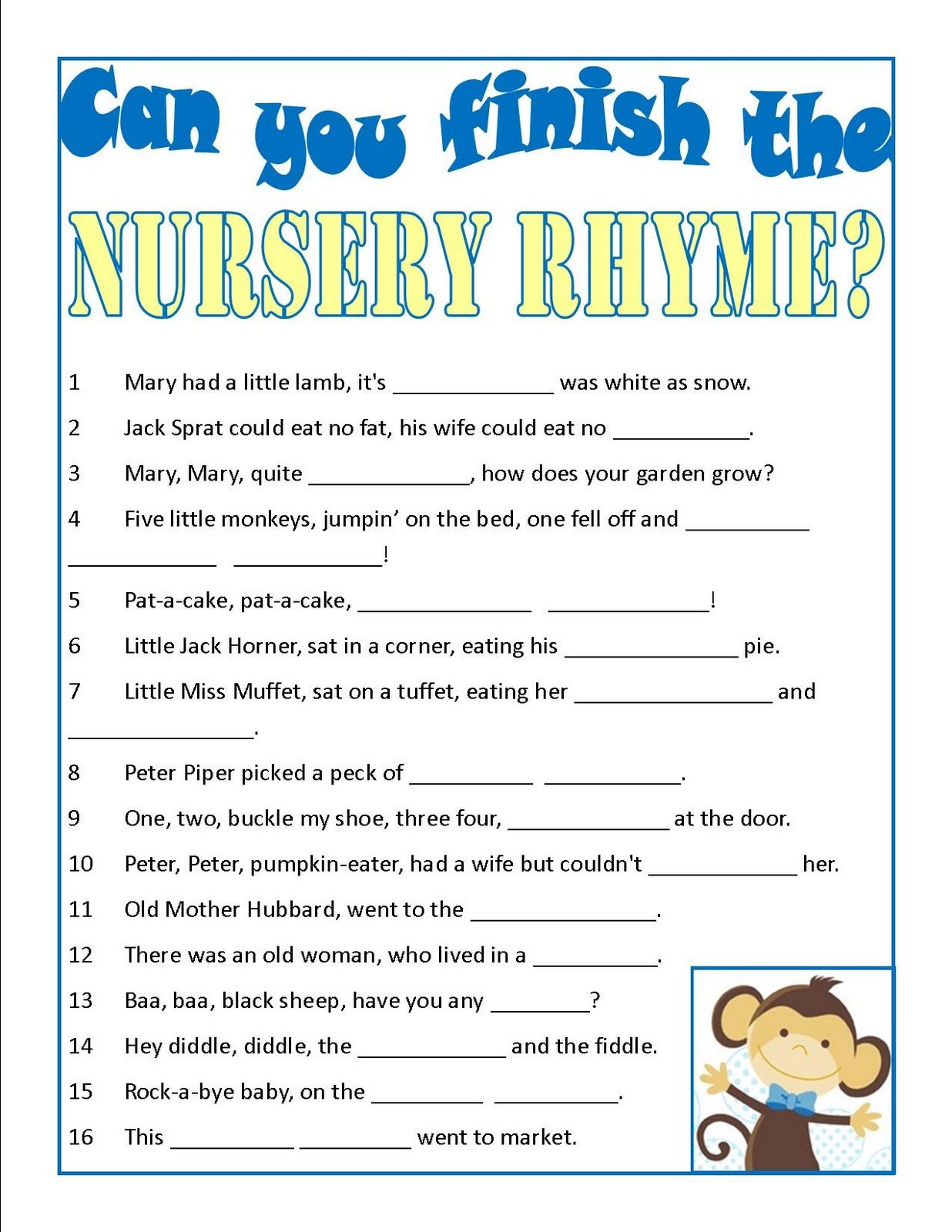 Baby Shower Game Can You Finish The Nursery Rhyme Baby Shower