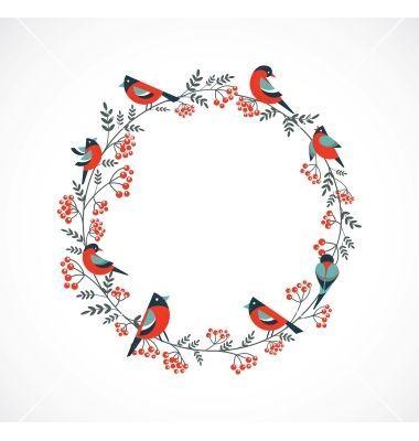 Photo of Weihnachtskranz mit Vögeln und ashberry Vektor – #ashberry #mit #und #Vektor #V…
