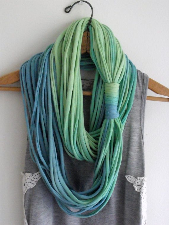 String Theory... Multi string infinity scarf in ombre of blue green ...