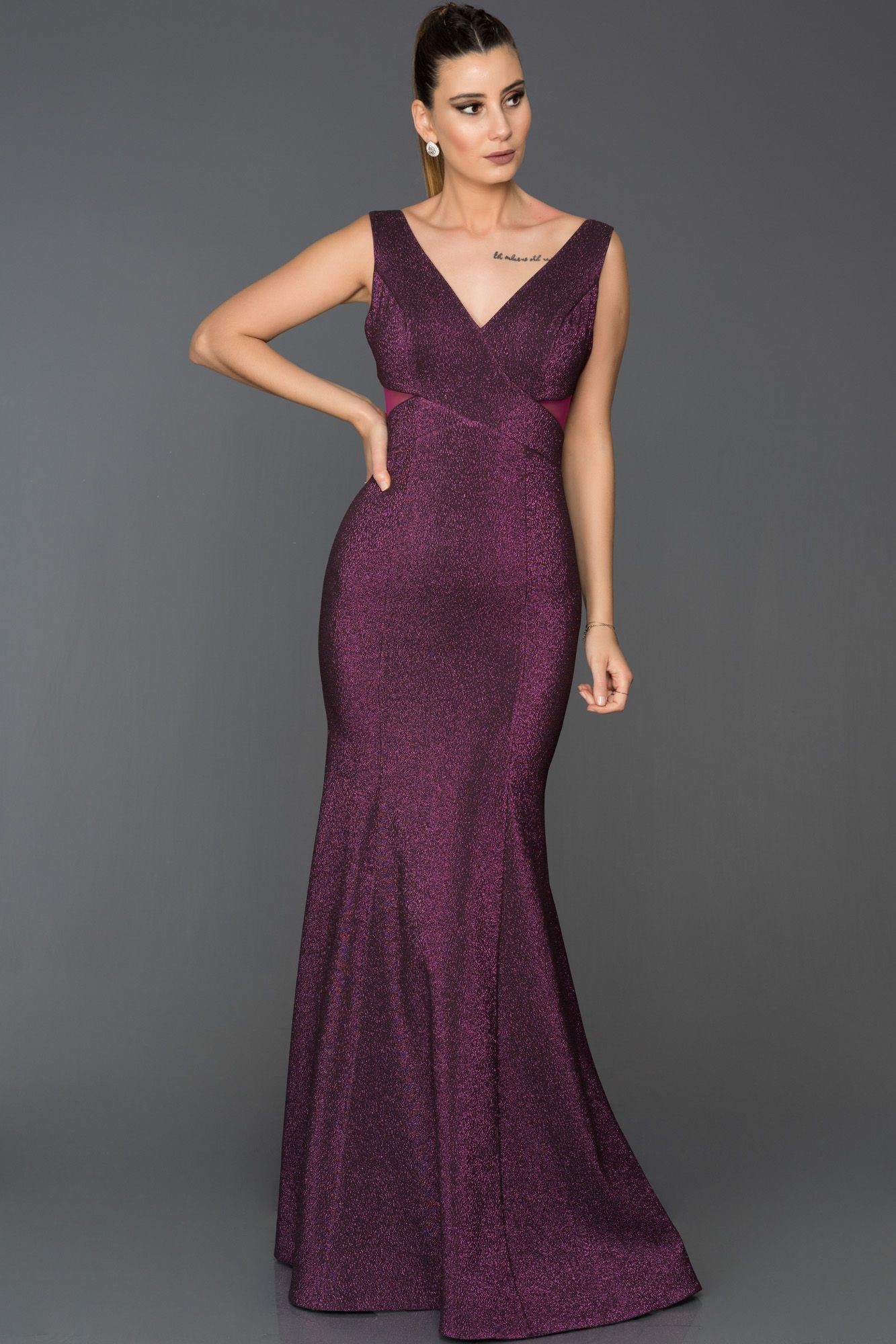 Fusya V Yaka Simli Balik Abiye Abu313 Resmi Elbise The Dress V Yaka