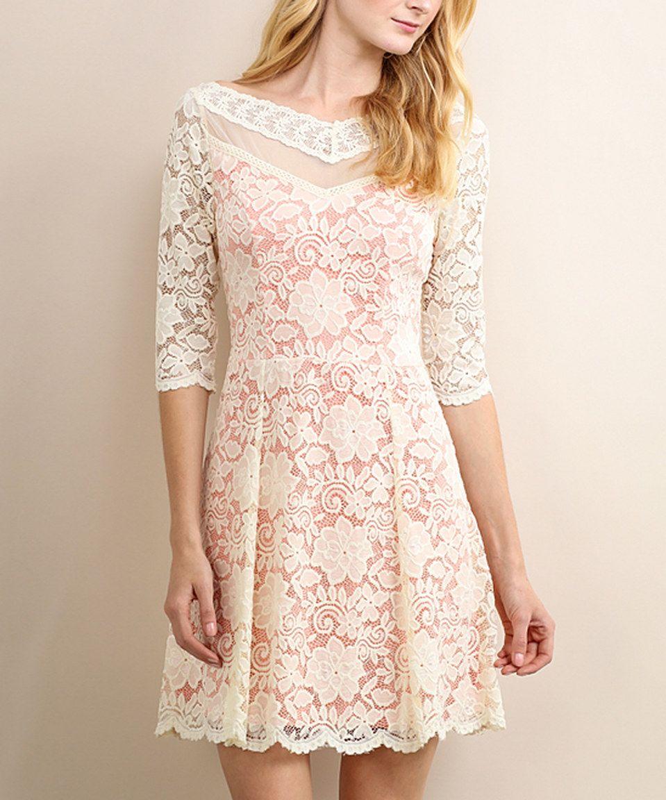 Soieblu Cream Lace V Neck A Line Dress A Line Dress Dresses Cute Dresses [ jpg ]