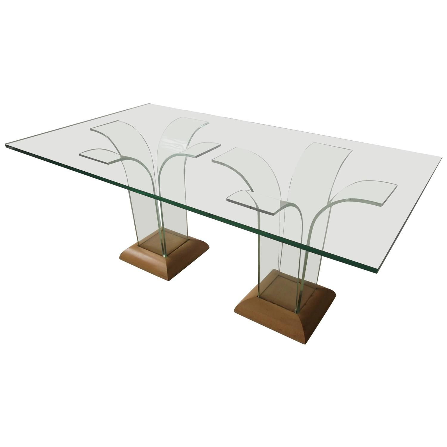 1940 Art Deco Bent Glass Dining Table by Ben Mildwoff for