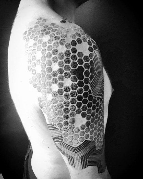 5d61f0fe6 80 Honeycomb Tattoo Designs For Men - Hexagon Ink Ideas | Blackwork ...