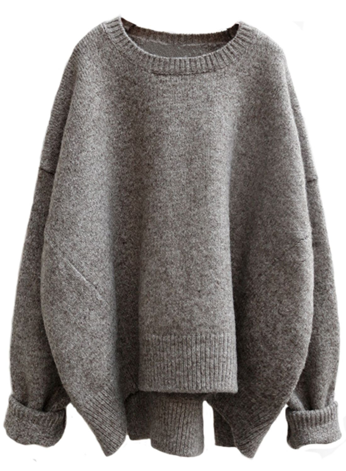 Heathered Round Neck Asymmetric Knit Sweater - AZBRO.com ...