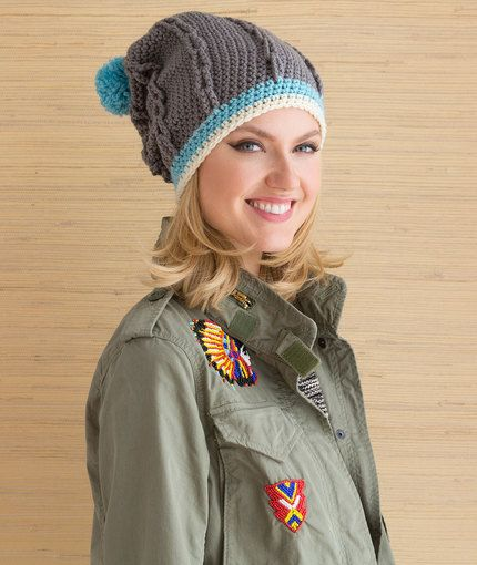 Cabled Hat with Pompom | Hats | Pinterest | Gorro de crochet ...