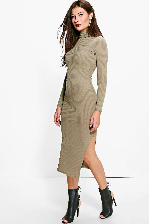 Ria Midaxi Ribbed Turtleneck Dress Turtle neck dress