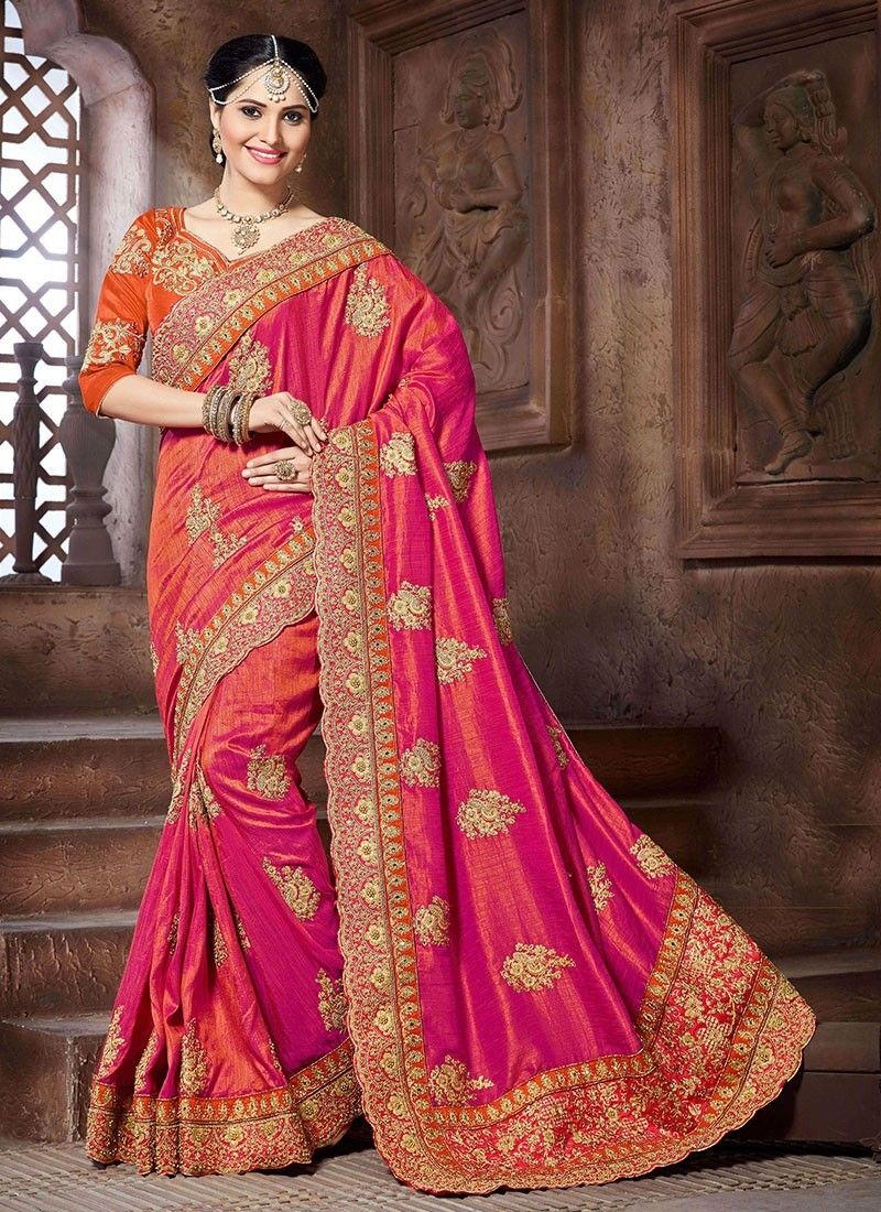 f204442bf215d2 Pink Crepe Silk Fancy Silk Sarees