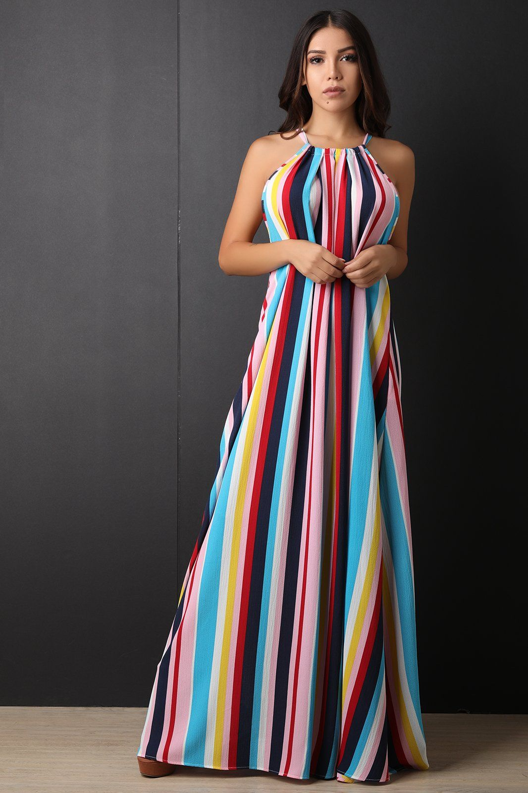 Colorful Vertical Striped Maxi Dress For Only 101 00 Fashionboutique Fashiontrends Dragonladyfashions F Maxi Dress Maxi Dress Cocktail Womens Maxi Dresses [ 1600 x 1066 Pixel ]