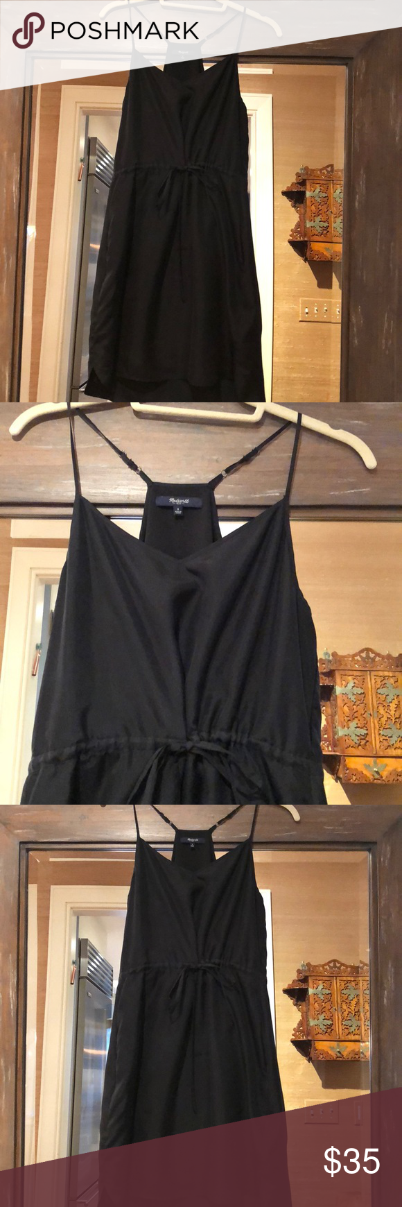 Madewell silk black cinched waist short sundress Like new black silk sundress sits above knee and has flattering v - camisole neckline with  adjustable silk straps Madewell Dresses Mini #shortsundress