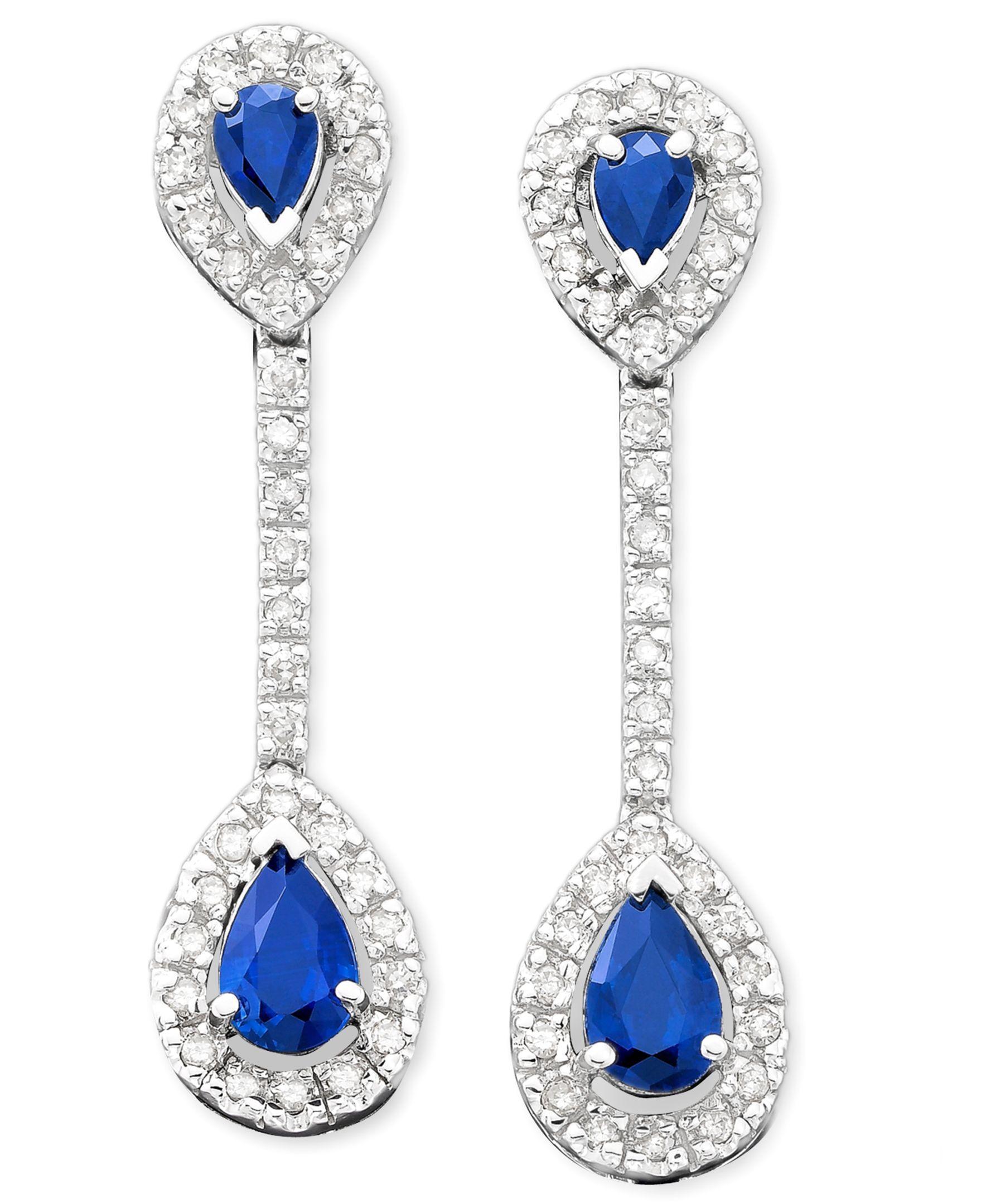 14k White Gold Sapphire (9/10 ct. t.w.) & Diamond (1/3 ct. t.w.) Drop Earrings