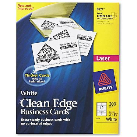 Avery Clean Edge Business Cards Uncoated Two Side Printing 2 X 3 1 2 200 Cards 5871 Walmart Com Printable Business Cards Custom Business Cards Business Cards
