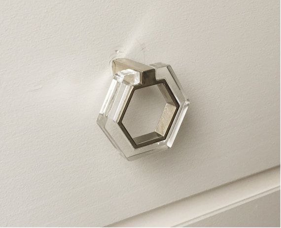 10 etsy bathroom lucite and chrome modern knob pull for Bathroom knobs and pulls