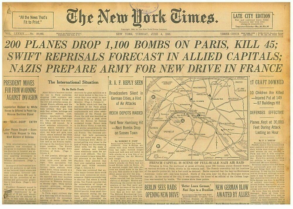 61940 WWII June 4 DUNKIRK PRIVATE CRAFT AID RESCUE PARIS