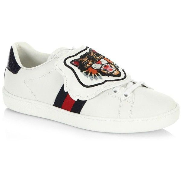088321165 Gucci New Ace Sneakers with Lion Patch (950 AUD) ❤ liked on Polyvore  featuring shoes, sneakers, genuine leather shoes, embroidered sneakers, cat  trainer, ...